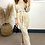 Thumbnail: Oatmeal Knitted Maxi Dress With Belt Fastening And Small Back Split Detail