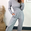 Thumbnail: Grey Marl Corset Style Short Hoodie With Straight Leg Jogger Set