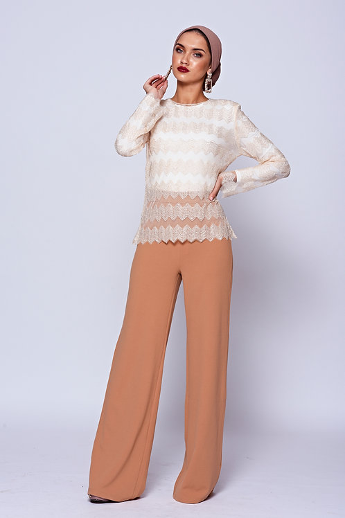 Camel High Waisted Stretch Wide Leg Trousers