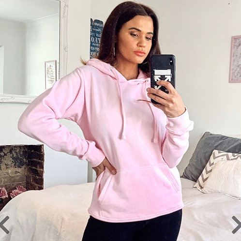 Pink Plain Hoodie With Pouch Pocket