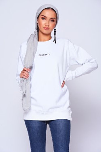 'BLESSED' Slogan White Crew Neck Sweatshirt