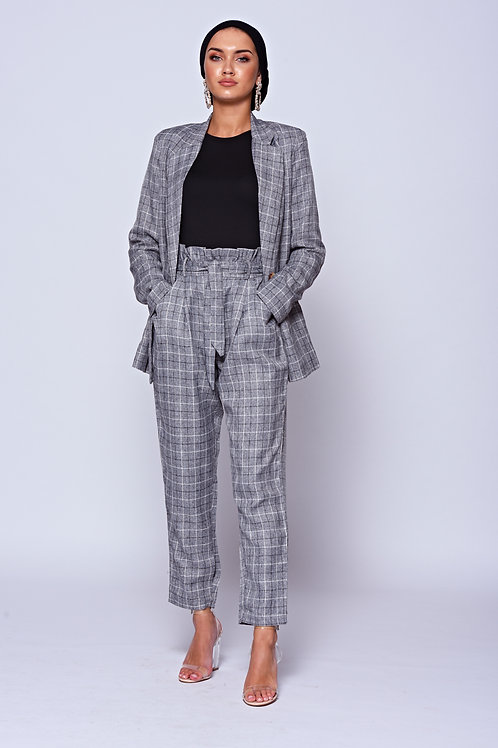 Grey Check Paper Bag Waist Trousers
