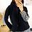 Thumbnail: Black Fleece Hoodie With Dogtooth Detail On Hem and Back And Speckled Draw Cords