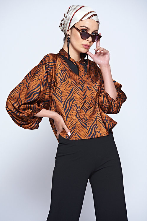 Burnt Orange Zebra Long Sleeve Short Blouse With Wide Sleeves And Tie Neck
