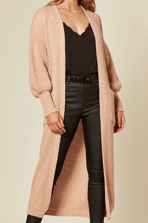 Pink Balloon Sleeve Maxi Cardigan With Front Pockets