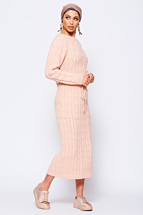 Baby Pink Stretch Cable Knit Midi Dress With Tie Front