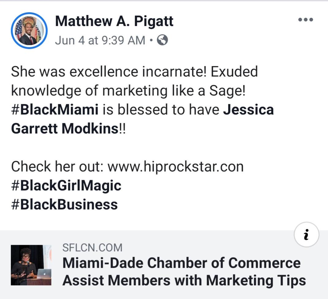 #BlackMiami is blessed to have Jessica Garrett Modkins!