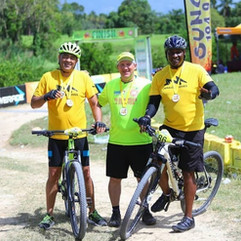 Dr. the Hon. Christopher Tufton, Minister of Health & Wellness shares photo with from (L-R): Mr. Peter McConnell, Board Chairman of  Management Committee, Linstead Hospital and Mr. Angus Gordon, Board Director during the Tru-Juice Cross Country 5K Run/walk & 20K Cycle on Sunday, June 2, 2019.