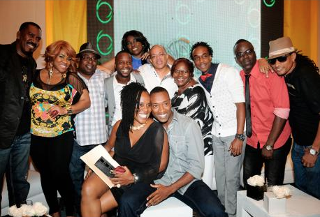 Roasters and the roasted share time in front of the camera during The Roast of Christopher 'Johnny' Daley at The Jamaica Pegasus hotel, New Kingston, on Monday night. - Winston Sill/Freelance Photographer