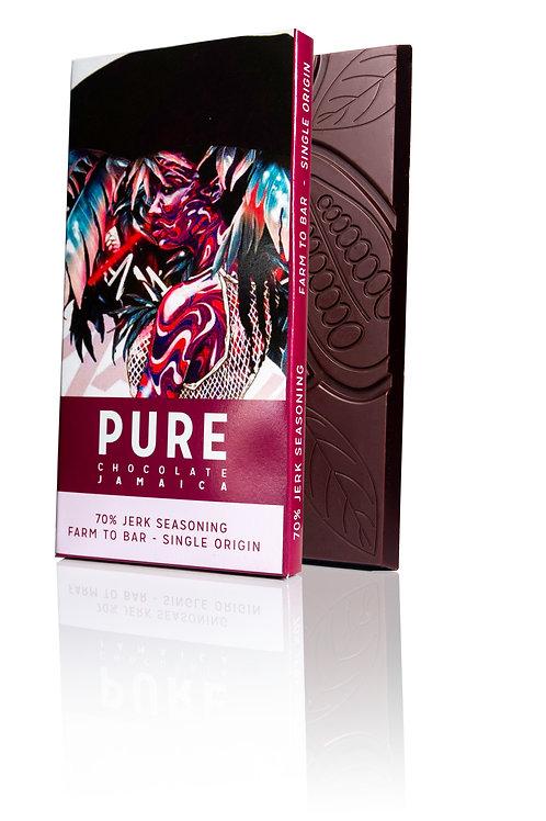 70% PURE Dark Chocolate with Jerk Seasoning