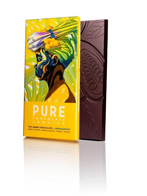 70% PURE Dark Chocolate with Lemongrass