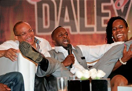 From left: Dr Michael Abrahams, Christopher 'Johnny' Daley and Dion Silvera laugh during The Roast.