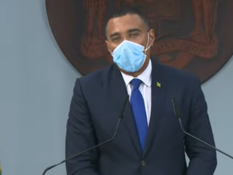 Prime Minister Andrew Holness speaking at a press conference on August 9, 2021.