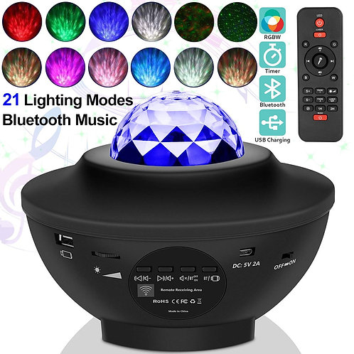 USB LED Star Night Light Music Starry Water Wave LED Projector Light