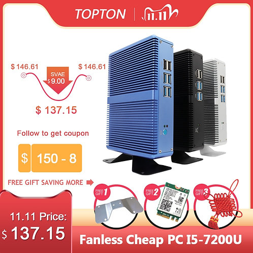 Topton Fanless Mini PC Intel i5/iI3 DDR4 DDR3 Linux/ Windows 10