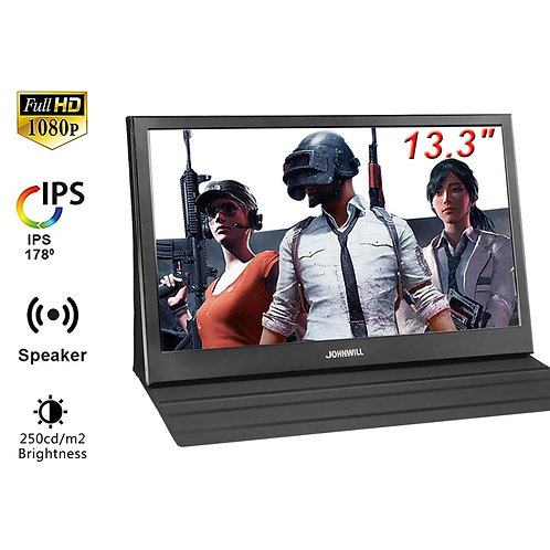 """13.3"""" 1080P HD LCD Portable Monitor HDMI IPS Build-In Speakers Raspberry"""