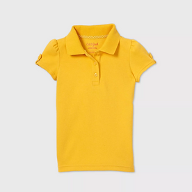 Toddler Girls' Short Sleeve Interlock Uniform Polo Shirt - GOLD