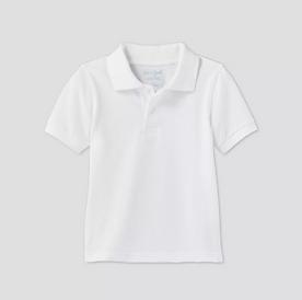 Toddler Boys' Short Sleeve Interlock Uniform Polo Shirt - WHITE