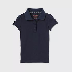 Toddler Girls' Short Sleeve Interlock Uniform Polo Shirt - NAVY