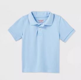 Toddler Boys' Short Sleeve Interlock Uniform Polo Shirt - LIGHT BLUE