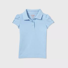 Toddler Girls' Short Sleeve Interlock Uniform Polo Shirt - LIGHT BLUE