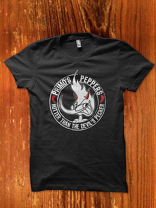 """Primo's Peppers™""""Hotter Than The Devil's Pecker""""(RED PEPPER & RED HORNS) T-Shirt"""