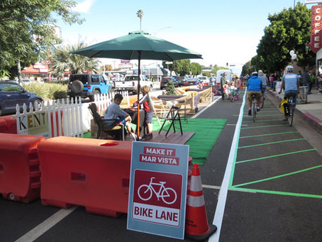 Make It Mar Vista Celebrates Community on Venice Blvd with Placemaking, a Pop-up Protected Bike Lane
