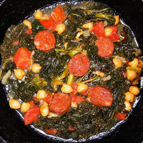 Kale with Chickpeas and Sausage