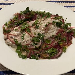 Bluefish with Onion Sauce