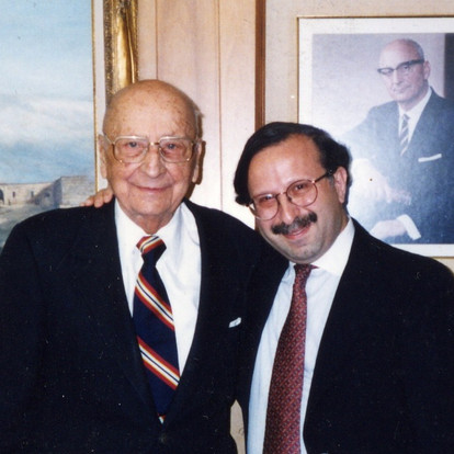 In the presence of American philanthopist  Alex Manoogian  (Detroit, USA, 1987)