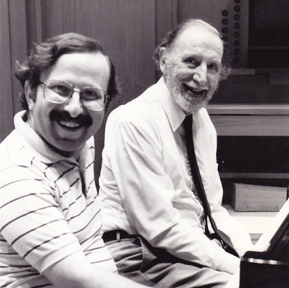 At the piano with composer Alan Hovhaness during  a recording session (New York, USA, 1987)