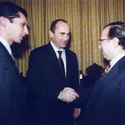 Meeting the former President Kocharyan of Armenia and Abelian, the present Under-Secretary-General of UN (New York, USA, 2003)