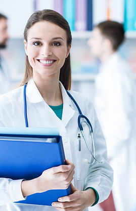 Confident-female-doctor-holding-medical-