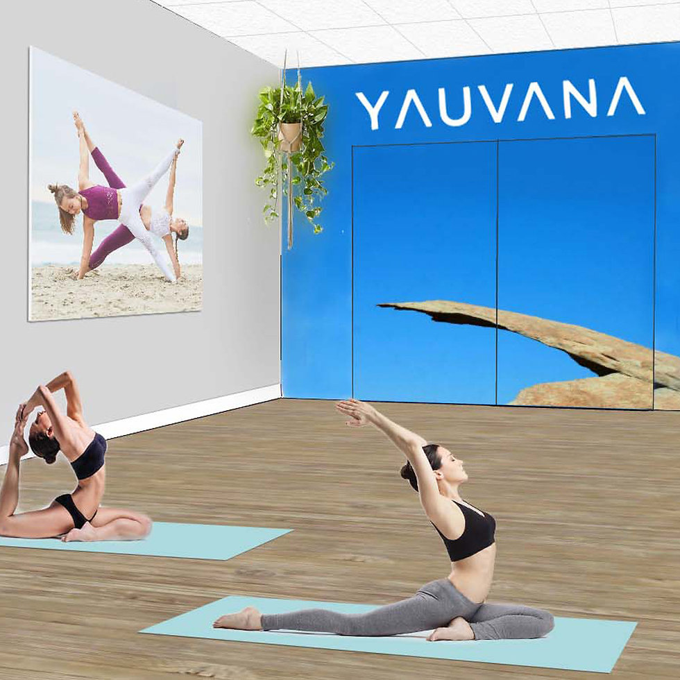 3D rendering of Yauvana Yoga and Float Yoga Studio. Inteior design and drawings by Paschall Design.