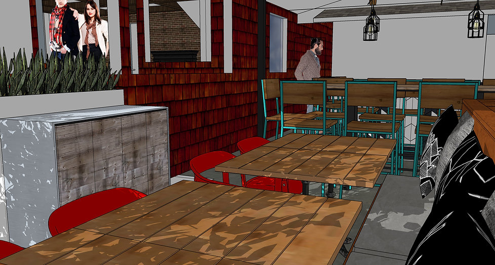 3D rending of Public House in La Jolla, done by Paschall Design. Interior design and drawing by Paschall Design.
