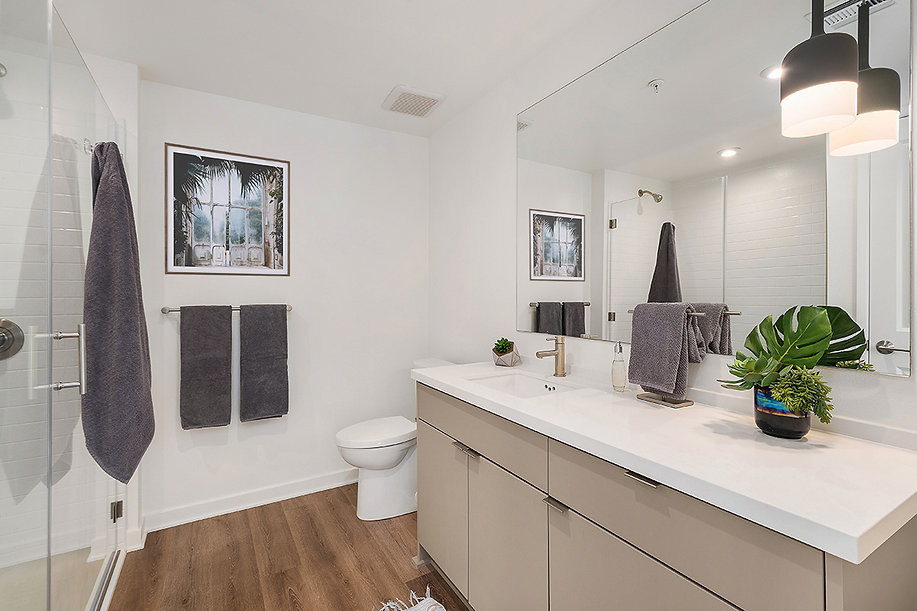 Del Mar high rise condo remodel. Interior design by Paschall Design. Here you see a modern bathroom with artwork, towels and accessories by Clutch Modern. Sleek cabinetry and glass shower. Brass and stainless steel hardware. Wood vinyl flooring in a medium walnut.