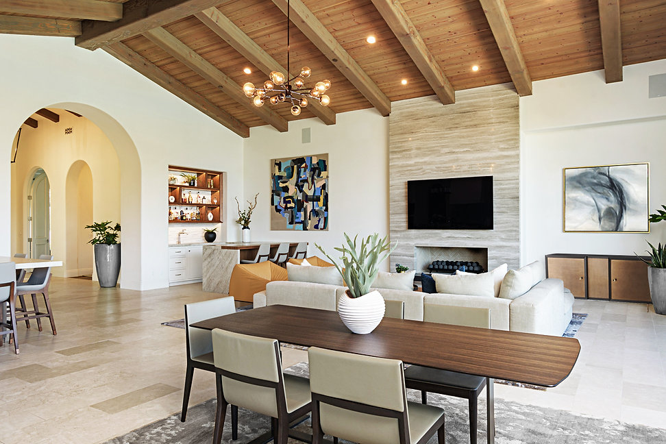 Modern Rancho Santa Fe Remodel. Interior design by Paschall Design. Fireplace redesign, bar redesign, kitchen redesign, built-in design, and more. Furniture selections were included in the design. Indoor accessories, planters, vases, and more.
