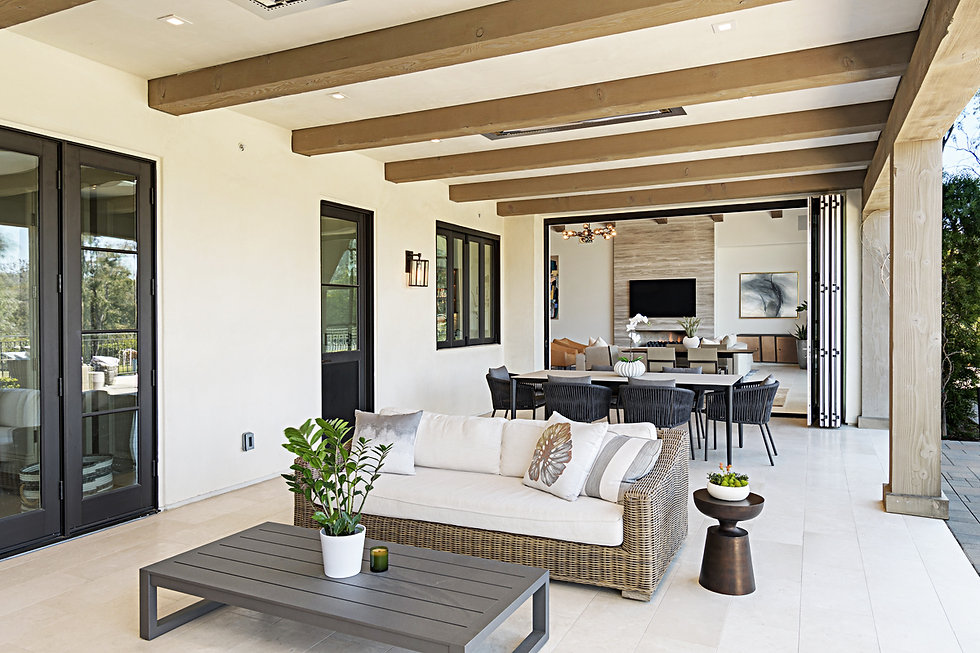 Modern Rancho Santa Fe Remodel. Interior design by Paschall Design. Fireplace redesign, bar redesign, kitchen redesign, built-in design, and more. Furniture selections were included in the design. Outdoor living design with exterior furniture. Outdoor accessories, planters and plants.