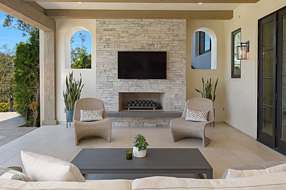 Modern Rancho Santa Fe Remodel. Interior design by Paschall Design. Fireplace redesign, bar redesign, kitchen redesign, built-in design, and more. Furniture selections were included in the design.