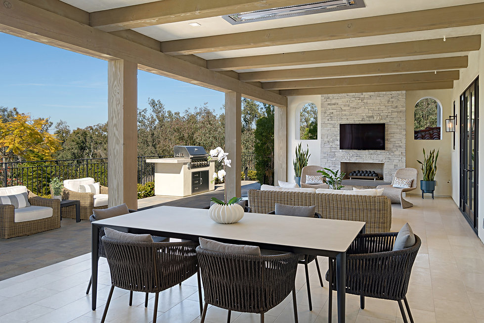Modern Rancho Santa Fe Remodel. Interior design by Paschall Design. Fireplace redesign, bar redesign, kitchen redesign, built-in design, and more. Furniture selections were included in the design. Outdoor living design with exterior furniture.