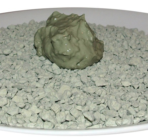 Below are granules of unprocessed French green clay. Above is your basic French green clay mask gel. Picture via www.eytonsearth.org