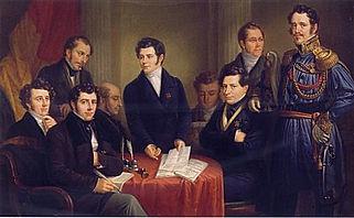 Signature de la première constitution Belge