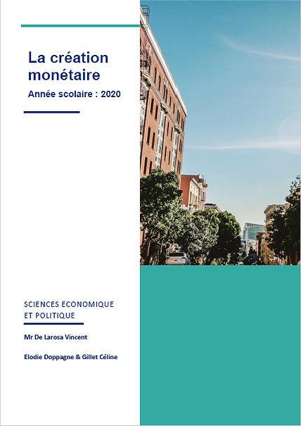 Travail de fin d'année | Science économique et politique | La création Monétaire | Elodie Doppagne