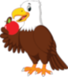 This is a cartoon eagle with an apple.