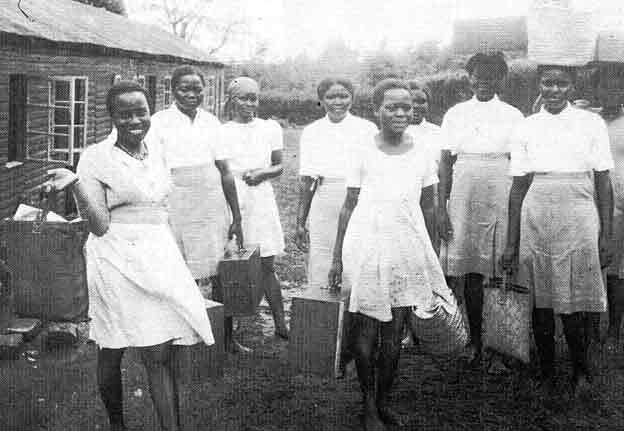 The First Pupils of the Alliance Girls High School in 1948. Miss Margaret Kenyatta is on the left