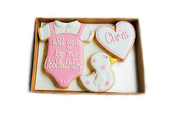 godparent cookies with duck - personalised