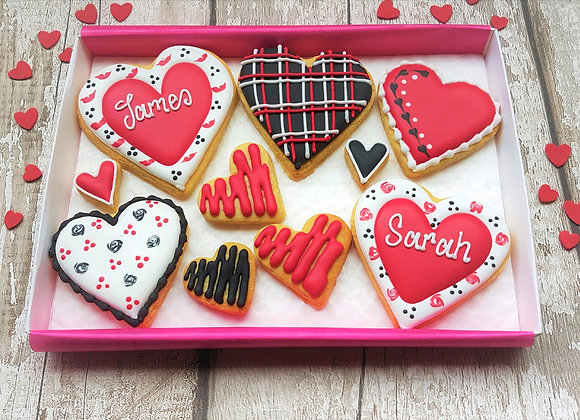Black & red personalised heart cookies