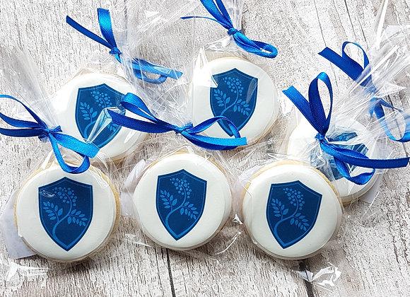 round logo cookies - with satin ribbon (min order x 10)