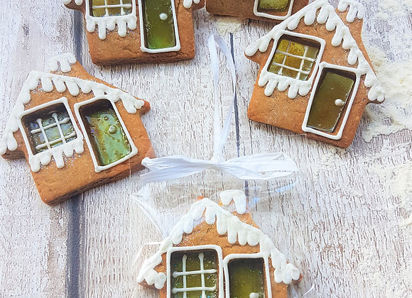 x 6  Stained glass hanging Gingerbread houses