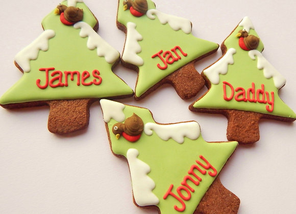personalised red robin christmas trees
